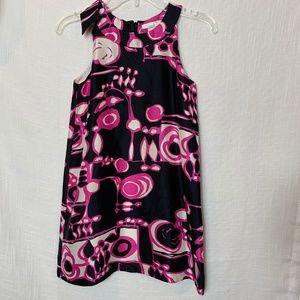 CREWCUTS L 6/7 Silk Shift Dress Black Pink